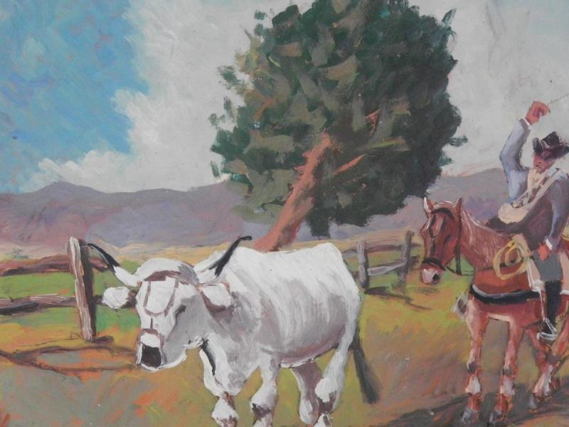 Dipinto olio su cartone raffigurante un buttero maremmano mentre guida un bovino, realizzato e firmato da Chiari, pittore senese di inizio '900.