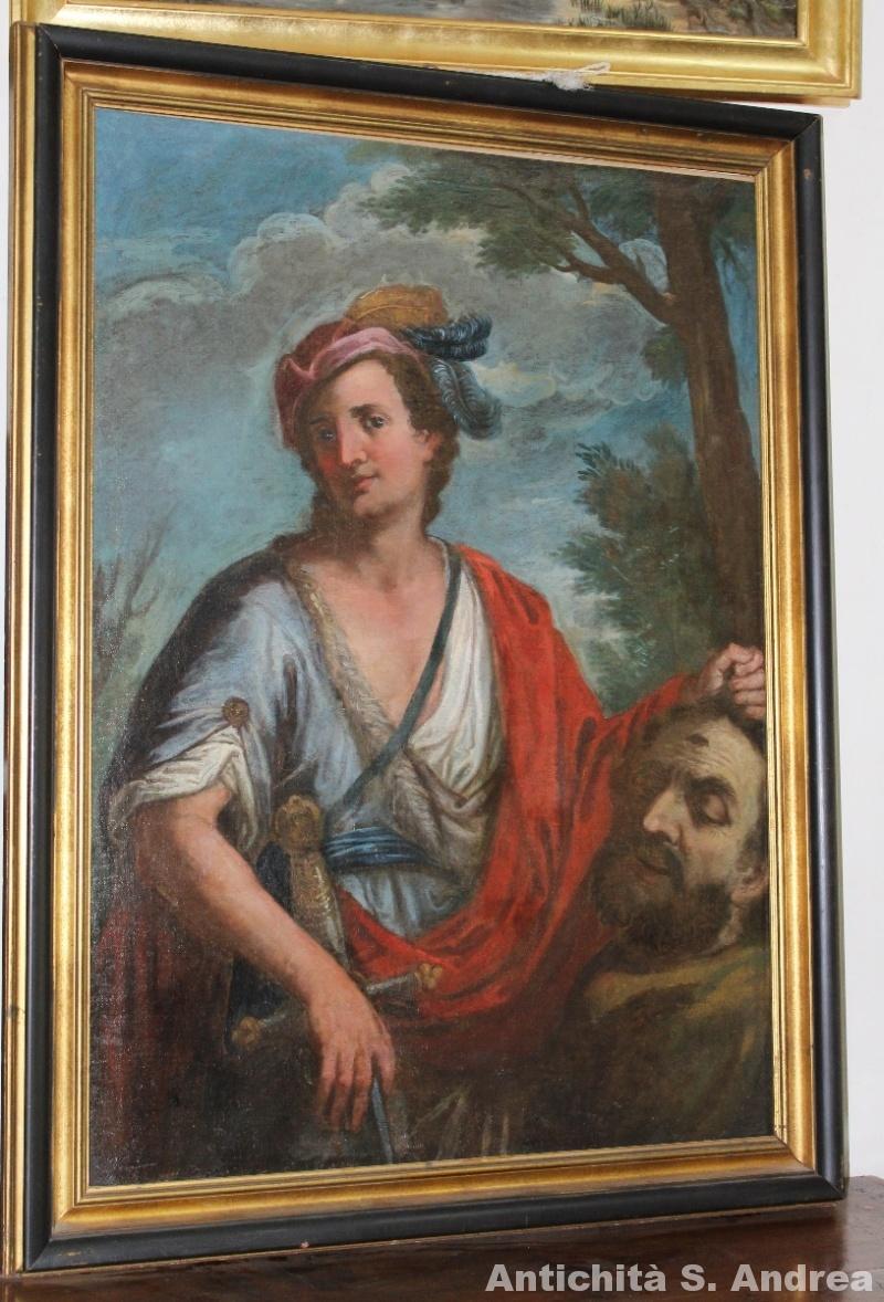Dipinto olio su tela raffigurante Davide e Golia, realizzato nel XVII secolo.