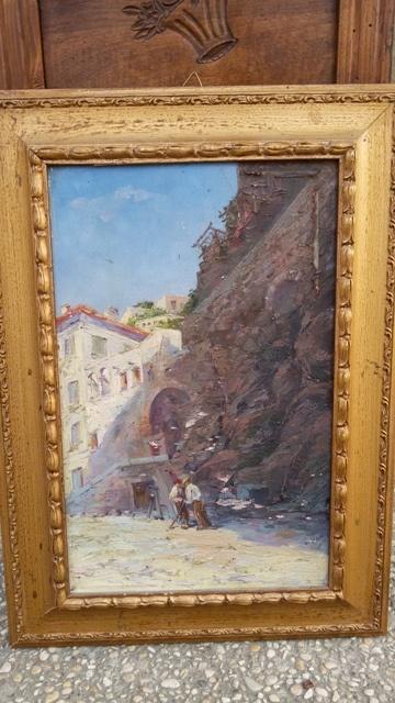 Dipinto olio su tavola raffigurante paesaggio costiero, realizzato e firmato a fine '800 da Georges Deloy.