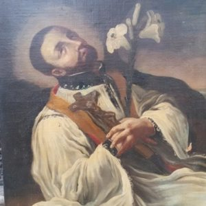 Dipinto olio su tela raffigurante S. Gaetano, realizzato nel '600 nell'Italia Centrale.