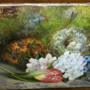 Dipinto olio su tela raffigurante una natura morta dei primi dell'800.