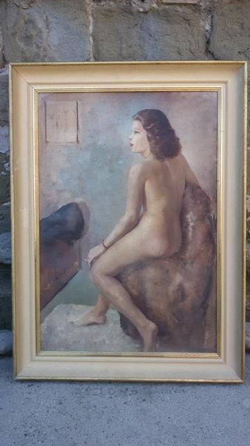 Elegante dipinto olio su cartone raffigurante nudo femminile, realizzato nei primi del '900.