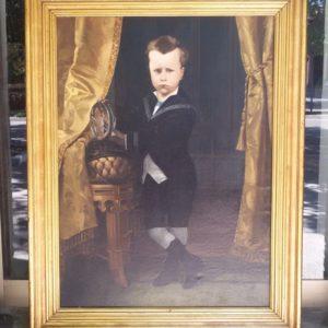 Dipinto olio su tela raffigurante un bambino, realizzato e firmato da Cesare Vincenzo Cantagalli a Siena nel 1880.
