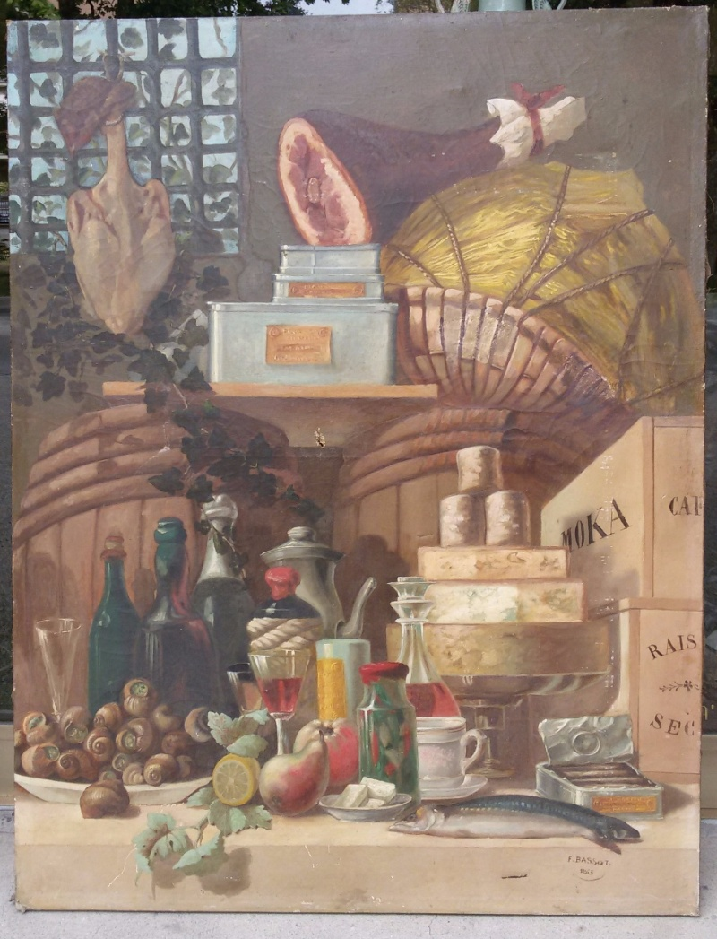 Dipinto olio su tela, raffigurante l'interno di una cucina dispensa, realizzato e firmato da Ferdinand Bassot (Francia, 1843-1900).