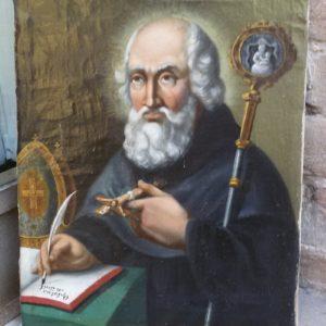 Particolare dipinto olio su tela raffigurante S. Optato, vescovo di Milevi in Numidia nel IV secolo, realizzato nel 1843.