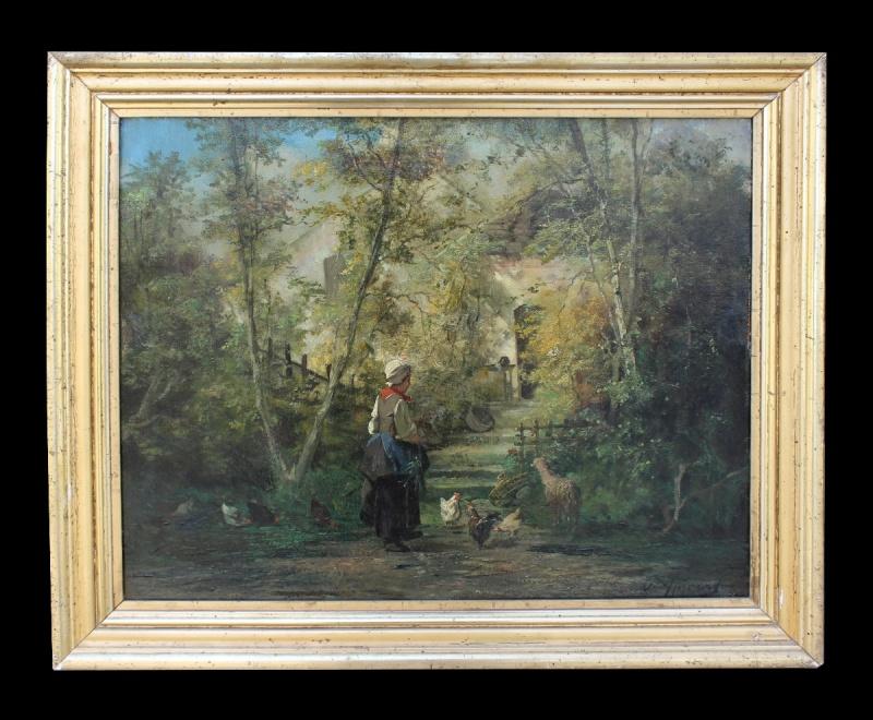 Dipinto olio su tela raffigurante scena di vita contadina realizzato e firmato nella prima metà dell'800 da Eugène Appert.