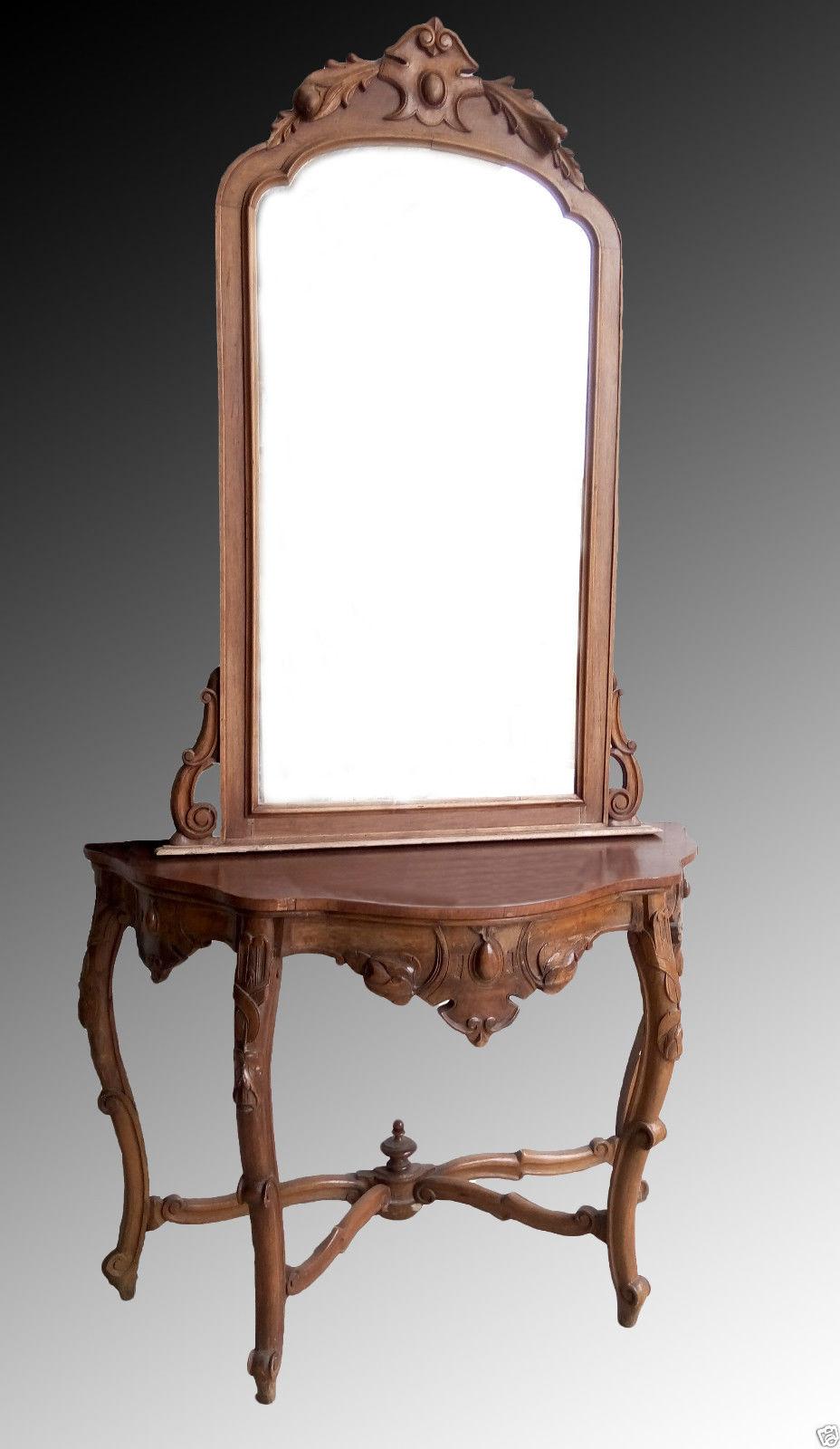 Consolle con specchio Luigi Filippo in legno di noce - \'800 ...