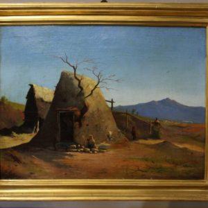 Dipinto olio su tela raffigurante campagna romana e realizzato nei primi dell'800.