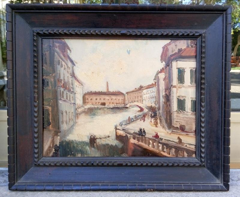 Dipinto olio su cartone, anonimo, raffigurante Livorno(?)e realizzato nei primi del '900.
