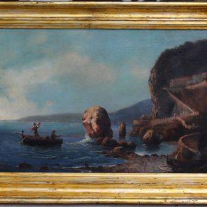 Dipinto olio su tela raffigurante marina napoletana con scogliera e pescatori, realizzato nei primi dell'800.