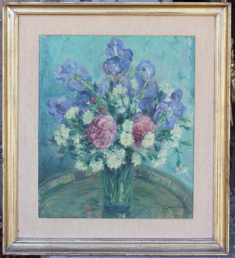 Dipinto olio su tela raffigurante vaso con fiori realizzato e firmato da Lucien Cahen-Michel nel '900.