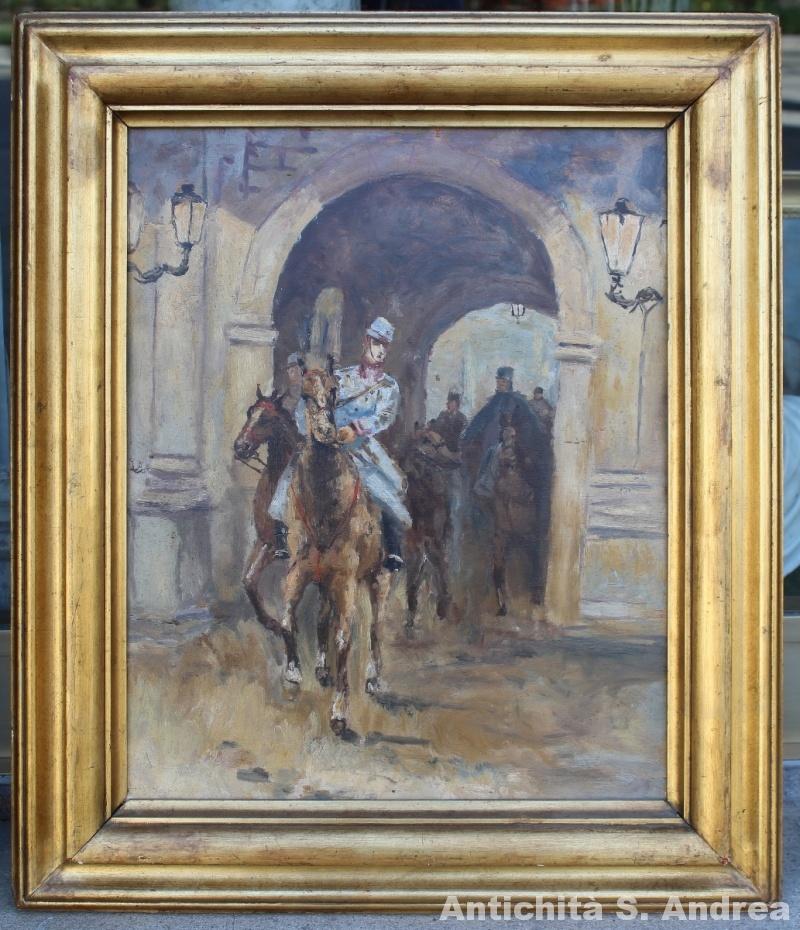 Dipinto olio su compensato, molto grazioso, raffigurante soldati a cavallo, realizzato nei primi del '900.