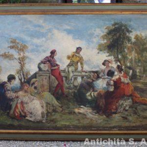 Dipinto olio su tela raffigurante scena romantica con personaggi in costume realizzato in Italia nei primi del '900.