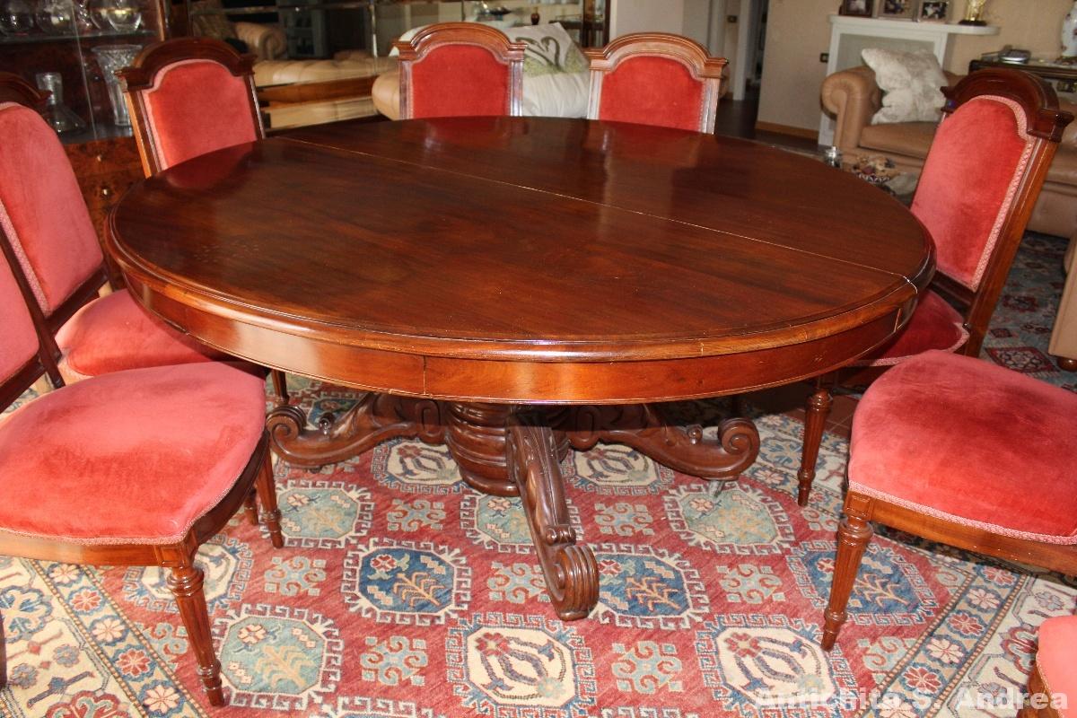 Tavolo ovale allungabile mogano massello 8 seggiole - Francia - metà \'800