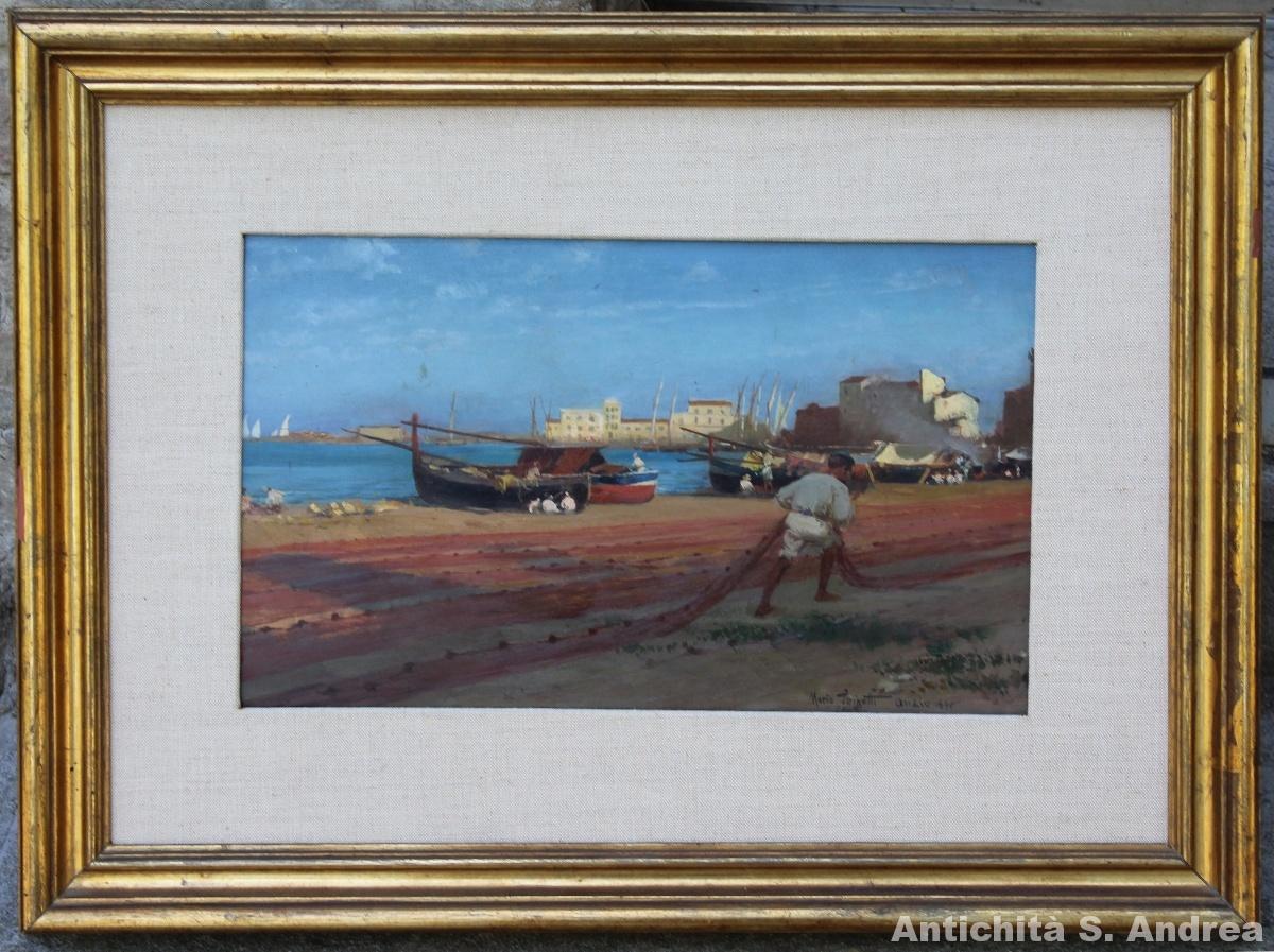 Dipinto olio su tavoletta raffigurante il Porto di Anzio realizzato da Mario Spinetti nel 1890.
