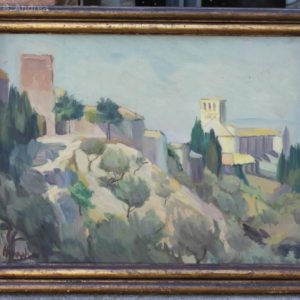 Dipinto olio su tavoletta raffigurante scorcio della città di Assisi e la Basilica di S. Francesco, realizzato nel 1948 (data sul retro) e firmato Mario M..