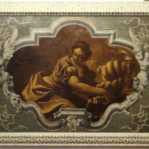 Dipinto olio su tela raffigurante scena allegorica simboleggiante la fertilità, la prosperità e la passione, evidenziate dalla cornucopia e dalla fiamma nelle mani della donna.