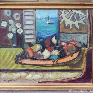 Dipinto olio su tela raffigurante natura morta con marina, di scuola francese, realizzato negli anni '70.