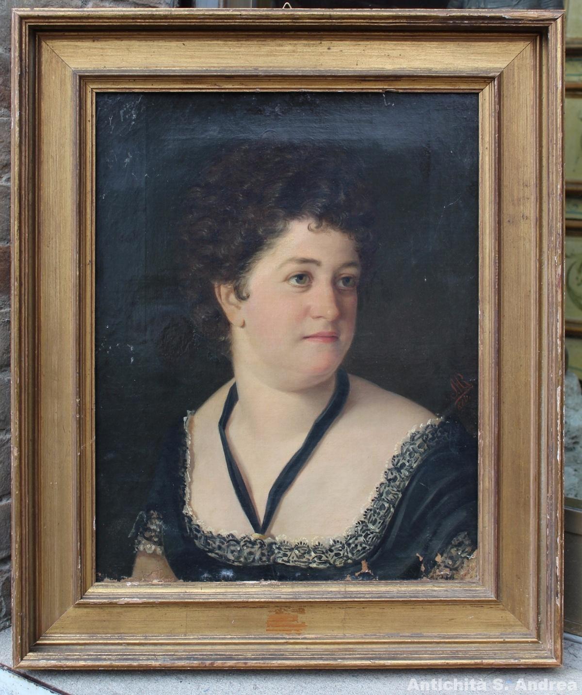 """Dipinto olio su tela raffigurante ritratto di donna realizzato tra il Nord Italia e l'Austria nel 1880. Il dipinto è in prima tela e con telaio originale, su cui è inciso """"W. Koller & Co. In Wien"""". Il dipinto è siglato M R 880."""
