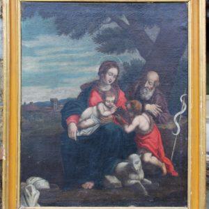 Meraviglioso dipinto olio su tela raffigurante Sacra Famiglia con S. Giovannino realizzato nell'Italia centrale di fine '600. Cornice coeva.