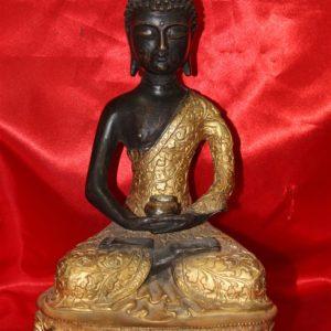Affascinante scultura in bronzo orientale raffigurante Buddha in Dhyana Mudra realizzata nei primi del '900.