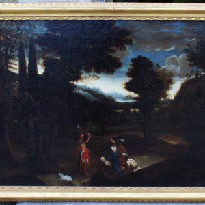 Meraviglioso dipinto olio su tela La predica di S. Giovanni Battista ambientato in un bellissimo paesaggio seicentesco.