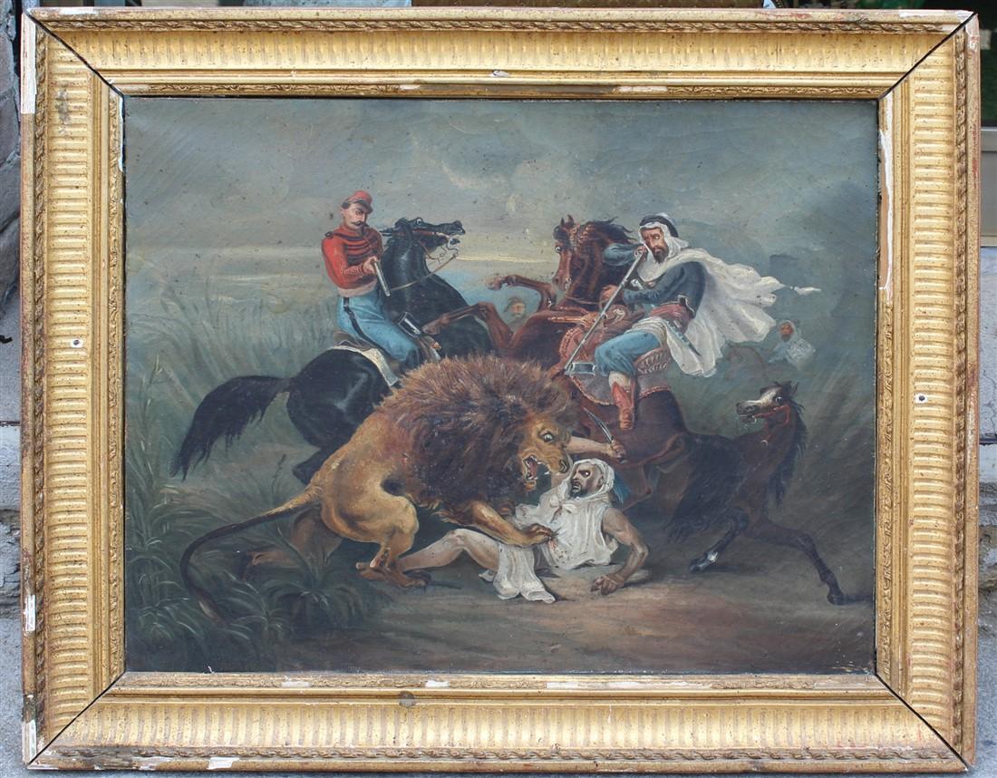 Dipinto olio su tela raffigurante caccia al leone, cornice coeva, da restaurare.