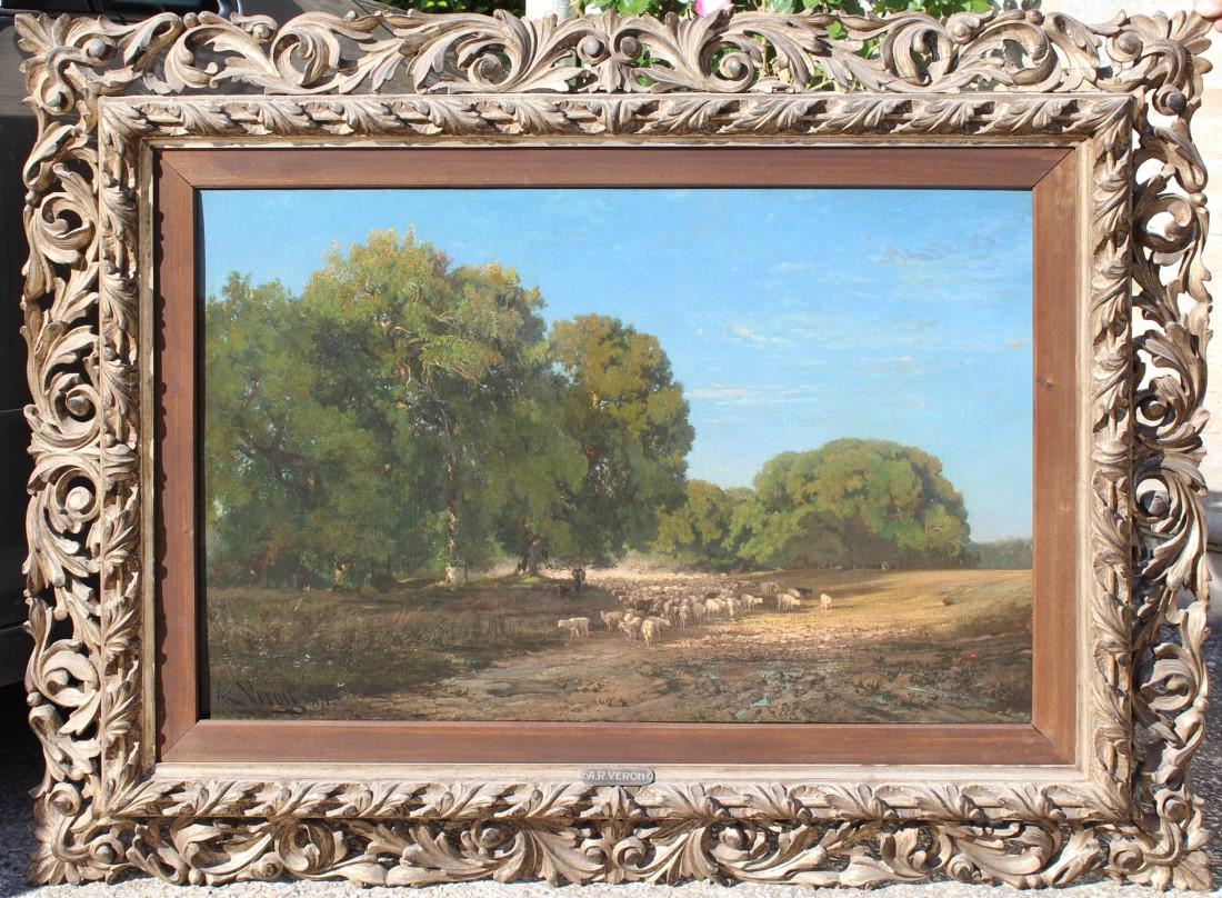 Meraviglioso dipinto olio su tela raffigurante foresta di Fontainebleau realizzato da Alexandre René Veron in Francia nel XIX secolo.