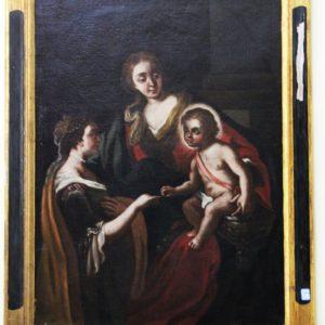 Dipinto olio su tela raffigurante sposalizio mistico di Santa Caterina d'Alessandria realizzato in Italia centrale nel '600.