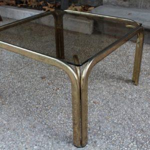 Tavolino quadrato in vetro e ottone dorato, in buone condizioni, realizzato negli anni '80.