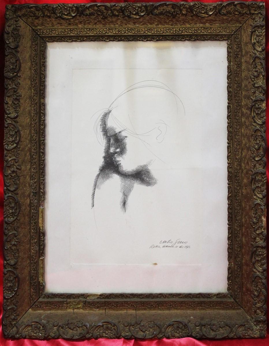 Litografia di Emilio Greco raffigurante profilo di donna datata 10 dicembre 1972.
