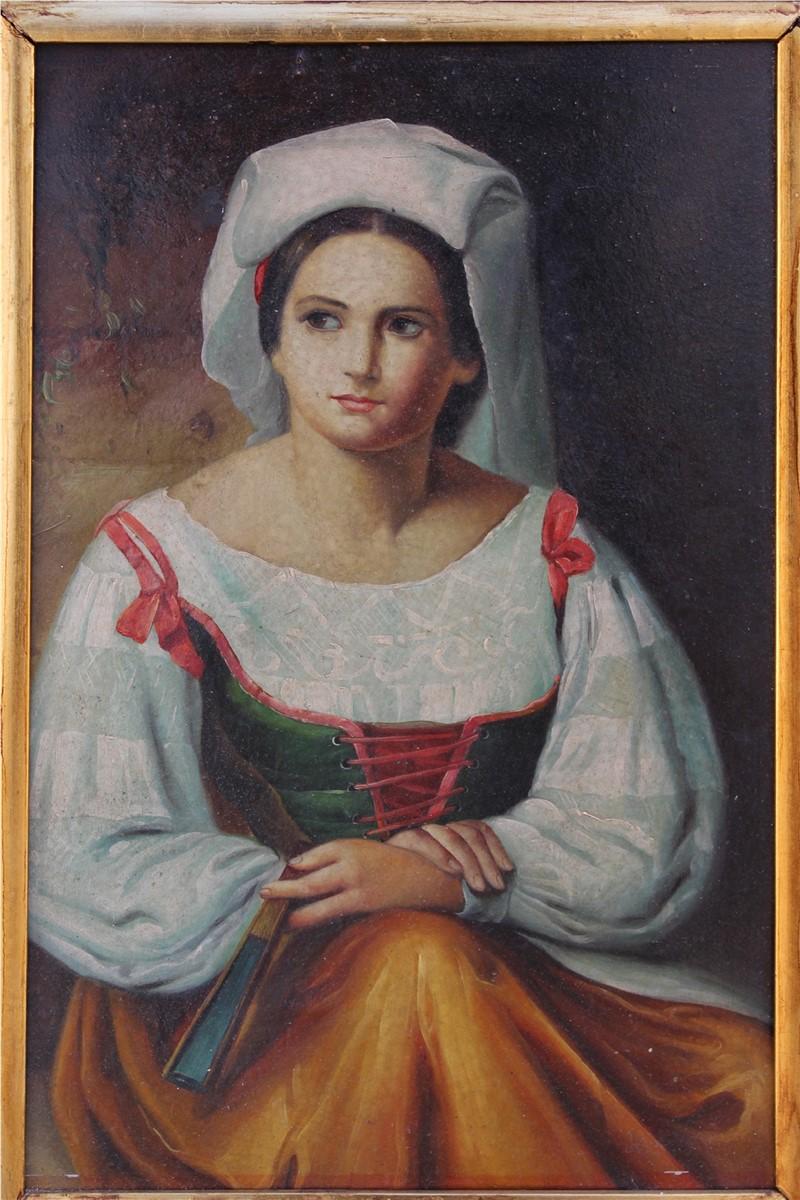 Dipinto olio su rame raffigurante giovane donna in costume popolare realizzato nei primi del '900.
