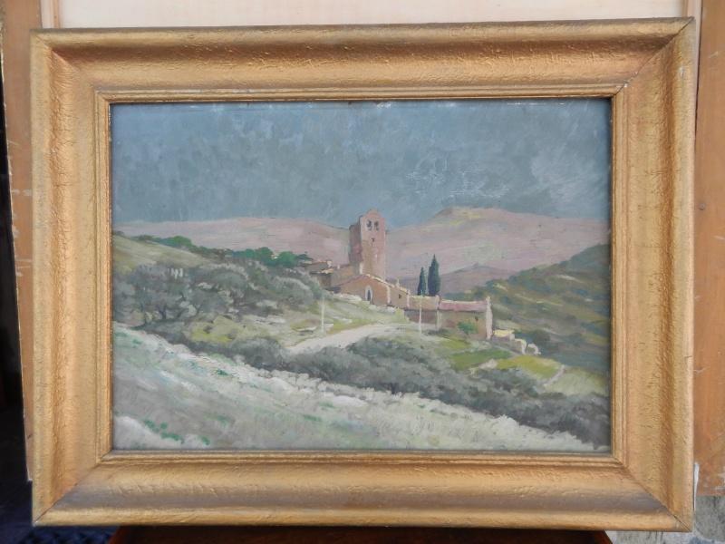 Dipinto olio raffigurante paesaggio umbro o toscano risalente ai primi del '900; firma non leggibile.