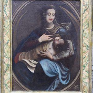 Dipinto olio su tela raffigurante Madonna con bambino, realizzato a Siena nel XVII secolo, in prima tela.