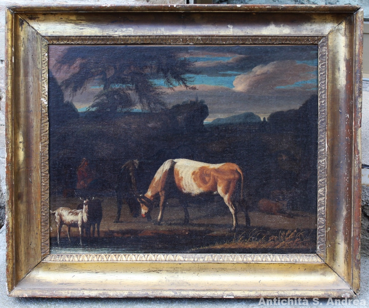 Dipinto olio su tela raffigurante una scena pastorale realizzato sul finire del '700, con vecchia rintelatura e cornice antica.
