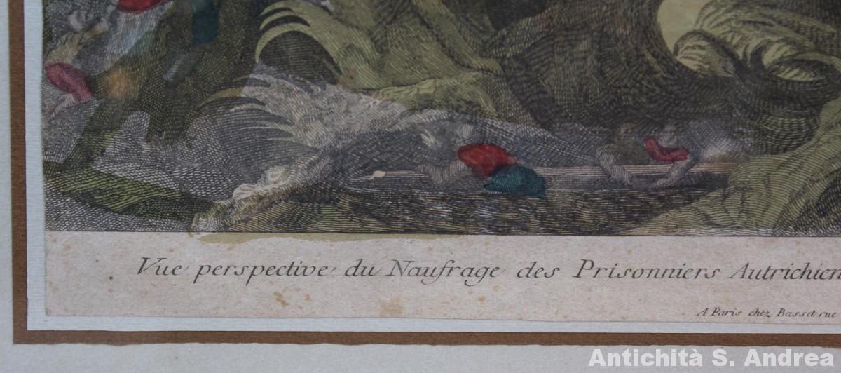 Incisione acquarellata Vue perspective du naufrage des prisonniers autrichiens en passant la mer Baltique faisant route pour le Magdebourg realizzata a Parigi da Basset l'Ainé, incisore attivo tra il XVIII e il XIX secolo.